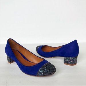 Schutz Blue Suede Glitter Block Heel Cap Toe Pumps